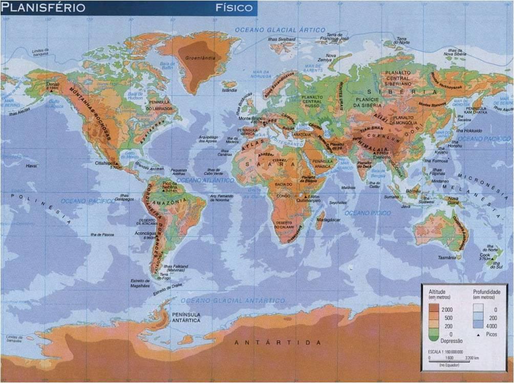 Planisferio fsico  C DEL MEDIO 6 PRIMARIA